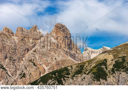 Mountain Peaks Of Sexten Or Sesto Dolomites In Front Of Tre Cime Di Lavaredo, Monte Rudo Or Rautkofe