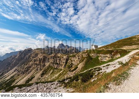 Mountain Range Of Cadini Di Misurina And Sorapiss. Panorama From Tre Cime Di Lavaredo Or Drei Zinnen