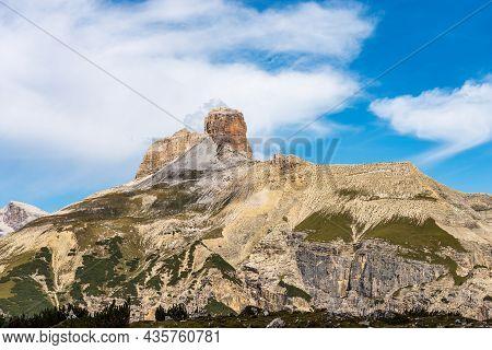 Mountain Peak Of The Torre Dei Scarperi Or Schwabenalpenkopf In The Natural Park Of Tre Cime Di Lava