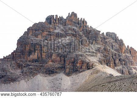 Mountain Peak Of Sesto Dolomites Isolated On White Background, Monte Paterno Or Paternkofel, Natural