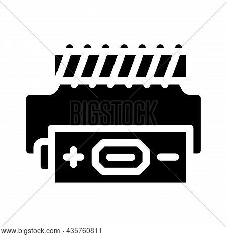 Battery Electromagnetic Glyph Icon Vector. Battery Electromagnetic Sign. Isolated Contour Symbol Bla