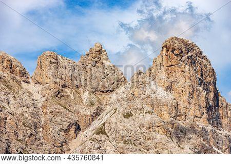 Mountain Peak Of Monte Rudo Or Rautkofel And Croda Dei Rondoi Or Schwalbenkofel Of The Mountain Rang