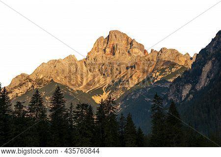 Mountain Peak Of The Dolomites At Sunset, Isolated On White Background. Croda Rossa D'ampezzo Or Hoh