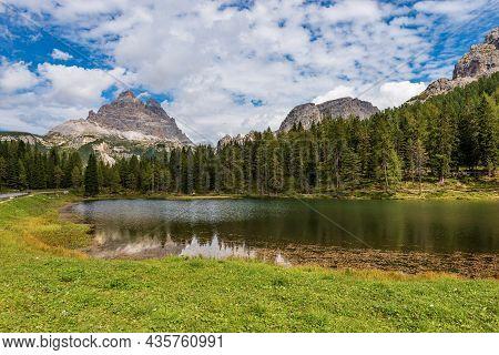 Lake Antorno And Dolomites, Drei Zinnen Or Tre Cime Di Lavaredo And Mountain Range Of Cadini Di Misu