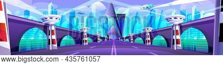 Futuristic Cityscape With Glass Buildings, Unusual Bridge And Road. Modern Architecture Towers And S