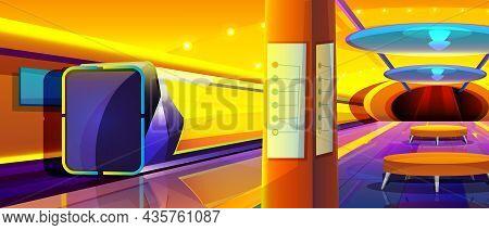 Cartoon Futuristic Train In Metro Station. Modern Underground Interior With Empty Subway Platform. P