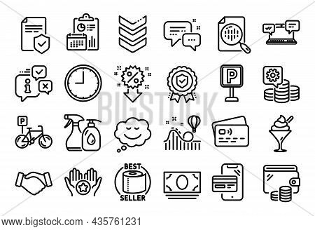 Vector Set Of Handshake, Favorite And Insurance Policy Line Icons Set. Calendar Report, Money Wallet