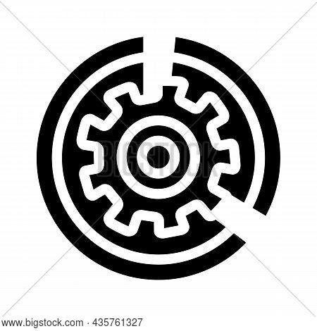 Gear Working Process Erp Glyph Icon Vector. Gear Working Process Erp Sign. Isolated Contour Symbol B