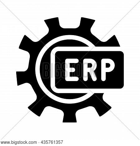Erp Working Processing Glyph Icon Vector. Erp Working Processing Sign. Isolated Contour Symbol Black