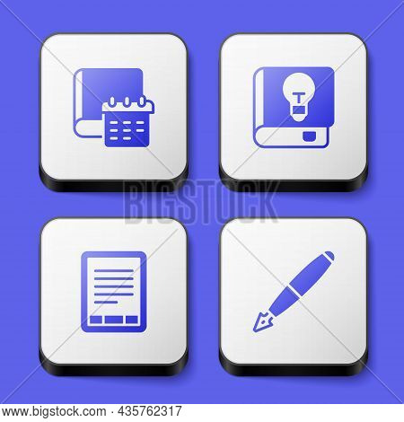 Set Daily Paper Notepad, User Manual, E-book Reader And Fountain Pen Nib Icon. White Square Button.