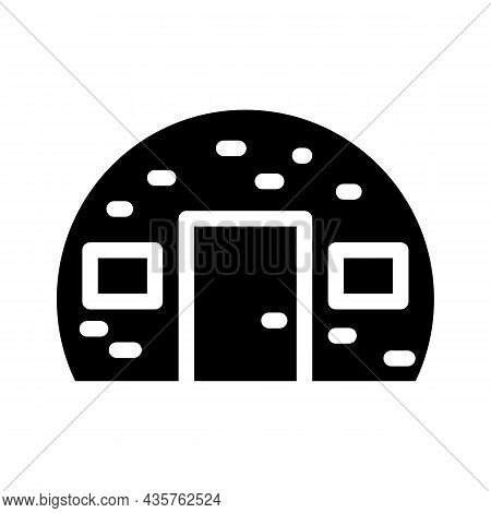 House Built From Metal Material Glyph Icon Vector. House Built From Metal Material Sign. Isolated Co