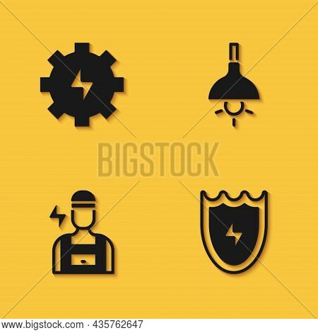 Set Gear And Lightning, Lightning Shield, Electrician And Lamp Hanging Icon With Long Shadow. Vector
