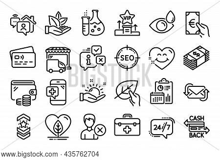 Vector Set Of Work Home, Local Grown And Shoulder Strap Line Icons Set. Calendar Report, Money Walle