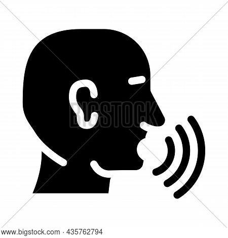 Talking And Discussing Human Glyph Icon Vector. Talking And Discussing Human Sign. Isolated Contour