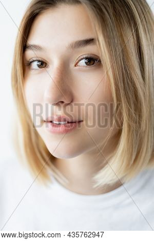 Attractive Woman Portrait. Skin Care. Natural Beauty. Closeup Of Gorgeous Young Fresh Model With Fre