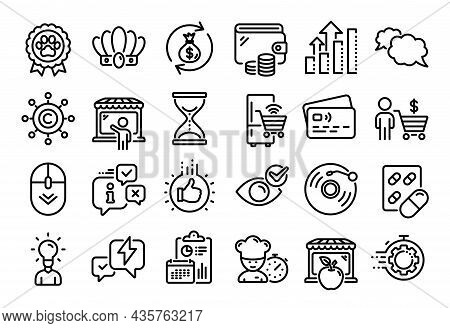 Vector Set Of Market Seller, Time Hourglass And Vinyl Record Line Icons Set. Calendar Report, Money