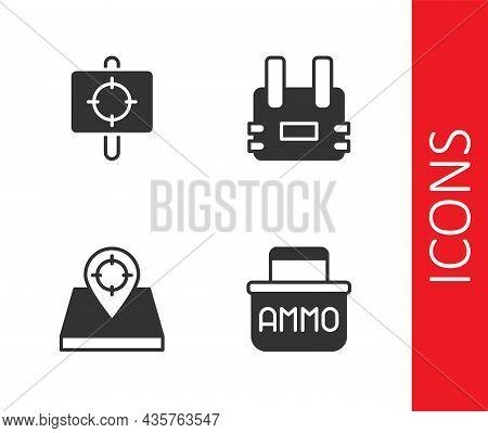Set Ammunition Box, Target Sport, Hunt Place And Bulletproof Vest Icon. Vector