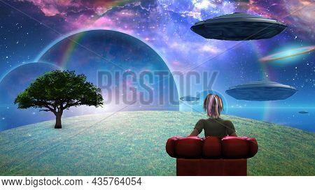 Observing the universe. Surreal scene. 3D rendering.