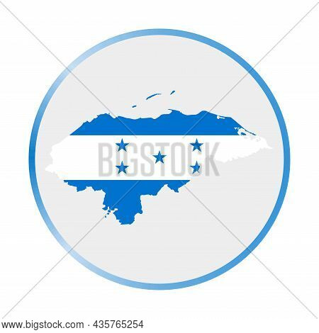 Honduras Icon. Shape Of The Country With Honduras Flag. Round Sign With Flag Colors Gradient Ring. A