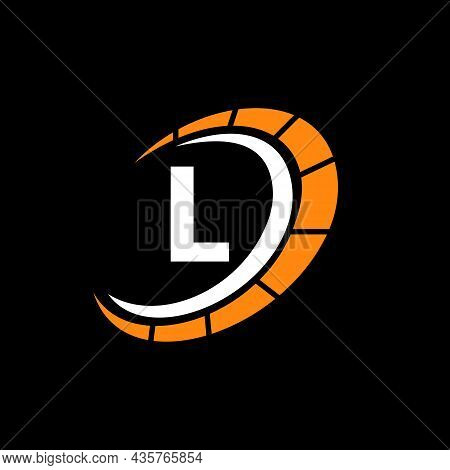 Sport Car Logo On Letter L Speed Concept. Car Automotive Template For Cars Service, Cars Repair With