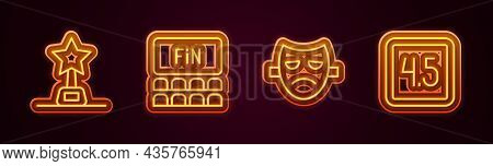 Set Line Movie Trophy, Cinema Auditorium With Screen, Drama Theatrical Mask And Rating Movie. Glowin