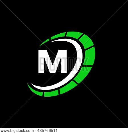 Sport Car Logo On Letter M Speed Concept. Car Automotive Template For Cars Service, Cars Repair With
