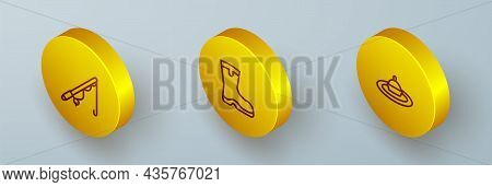 Set Isometric Line Fishing Rod, Boots And Float Water Icon. Vector