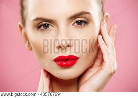 Beauty Concept - Close Up Gorgeous Young Brunette Woman Face Portrait. Beauty Model Girl With Bright