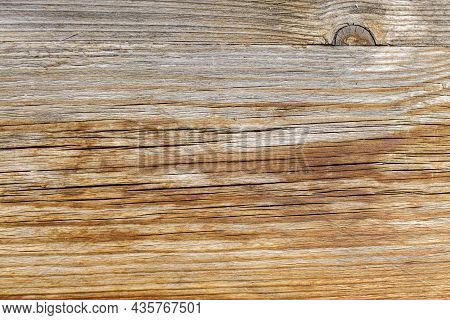 Wood Plank, Weathered And Damaged. The Texture Of The Cracked Board Close-up View. Old Wood With Cra