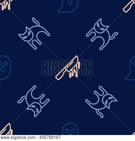Set Line Ghost, Black Cat And Bloody Knife On Seamless Pattern. Vector