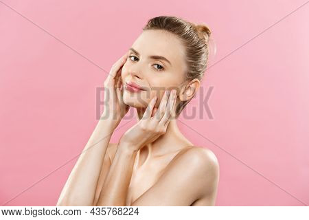 Beauty Skin Concept - Beautiful Young Caucasian Woman With Clean Fresh Skin Look Away With Pink Stud