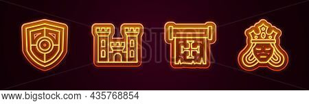 Set Line Shield, Castle, Crusade And Princess Or Queen. Glowing Neon Icon. Vector