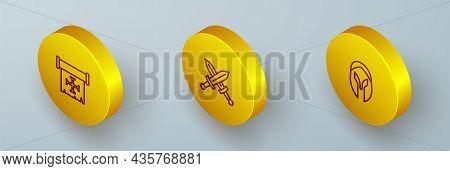 Set Isometric Line Crusade, Crossed Medieval Sword And Medieval Helmet Icon. Vector