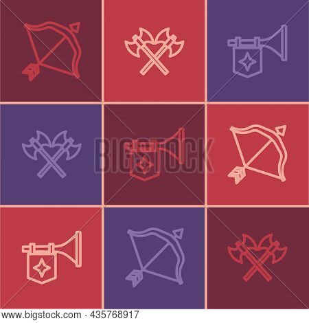 Set Line Medieval Bow And Arrow, Trumpet With Flag And Crossed Medieval Axes Icon. Vector