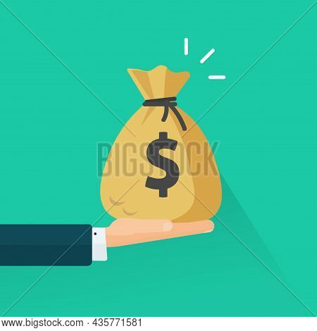 Hand Giving Money Vector Or Man Arm Holding Cash Bag Flat Cartoon Illustration, Idea Of Give Credit