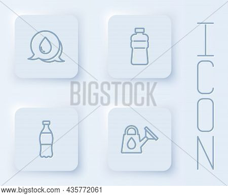 Set Line Water Drop With Speech Bubbles, Bottle Of Water, And Watering Can. White Square Button. Vec