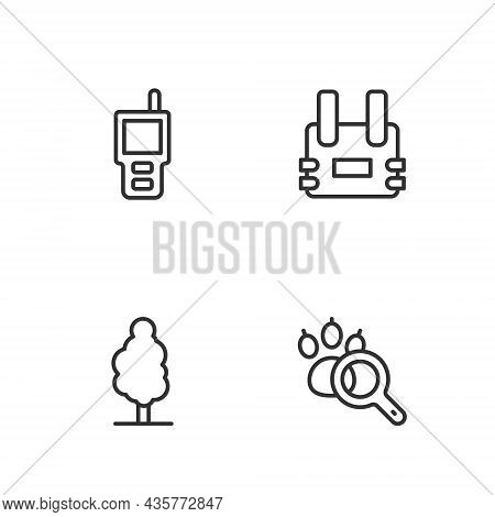 Set Line Paw Search, Tree, Walkie Talkie And Bulletproof Vest Icon. Vector