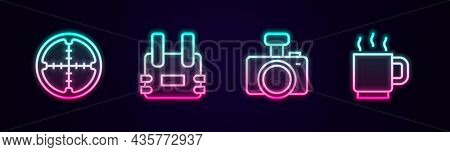 Set Line Sniper Optical Sight, Bulletproof Vest, Photo Camera And Coffee Cup. Glowing Neon Icon. Vec