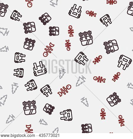 Set Line Bulletproof Vest, Quiver With Arrows, Tree And Dead Fish On Seamless Pattern. Vector
