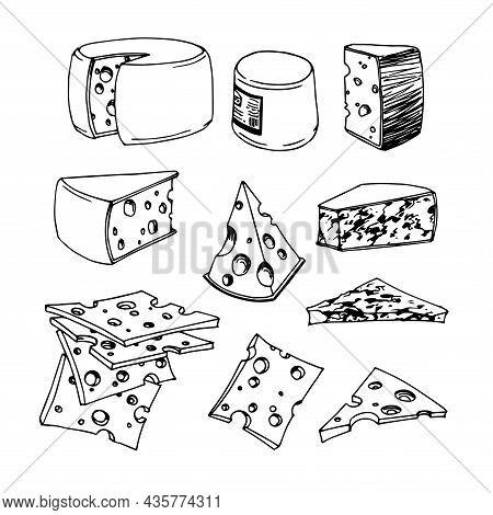 A Set Of Cheese Slices, Menu Decoration, Vector Illustration With Contour Lines In Black Ink Isolate
