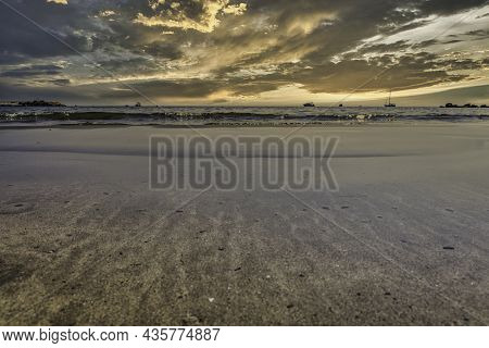 Stunning Sunrise At The Beach In Mediterranean Alicante Of Spain