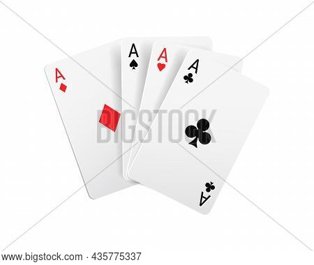 Playing Cards, Cartoon Four Aces Poker Game Sign Isolated Realistic Set 3d Gambling Games Symbols. V