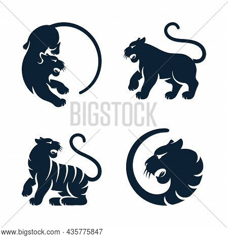 Wild Cat Black Silhouette Bengal Tiger Animals Set Isolated African Tigress. Vector Tigers Eastern Z