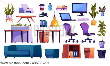 Office Open Space Furniture Elements Isolated Cartoon Set. Vector House Plants, Desk And Chairs, Com