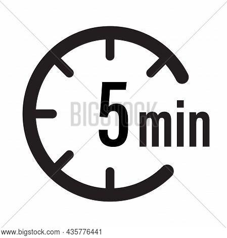 5 Minute Timer Countdown Icon Vector For Graphic Design, Logo, Website, Social Media, Mobile App, Ui
