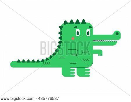 Cute Crocodile. Cartoon Alligator Isolated. Vector Illustration