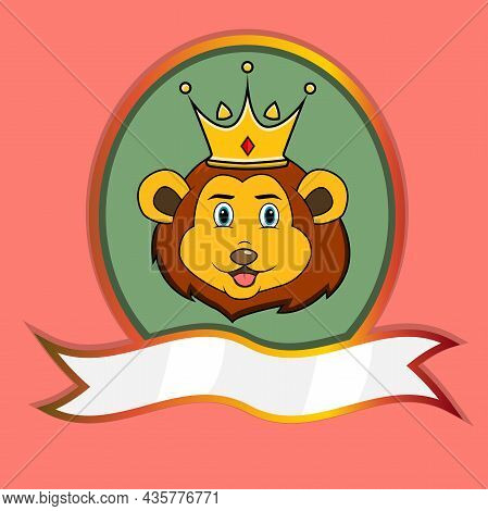 Cute Animal Head With Crown On Frame Label. Lion Head. Perfect For Cartoon, Logo, Icon And Character