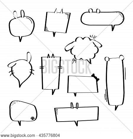 Collection Set Of Hand Drawn Speech Bubble Balloon, Think, Speak, Talk, Text Box Banner With Animal