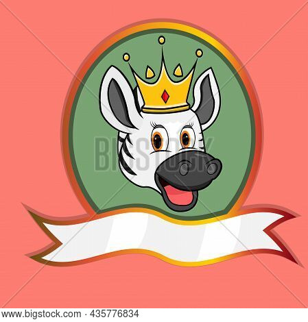 Cute Animal Head With Crown On Frame Label. Zebra Head. Perfect For Cartoon, Logo, Icon And Characte