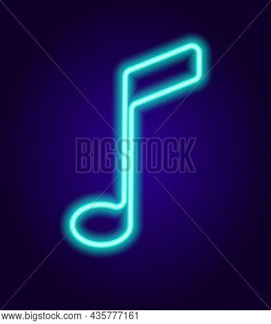 Neon Musical Note Sign. Glowing In The Dark Neon Sign Of The Eighth Note Is A Line Of Blue Color. Is